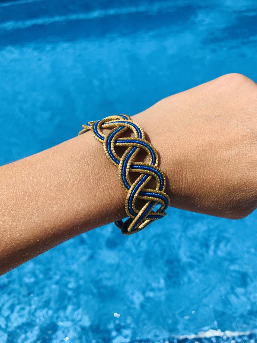 """Armband """"Goldengras"""" - blau"""