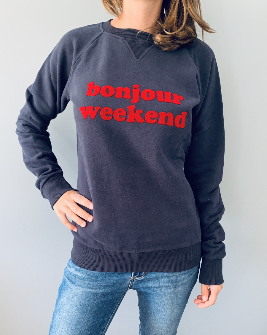 "Sweatshirt ""bonjour weekend"""