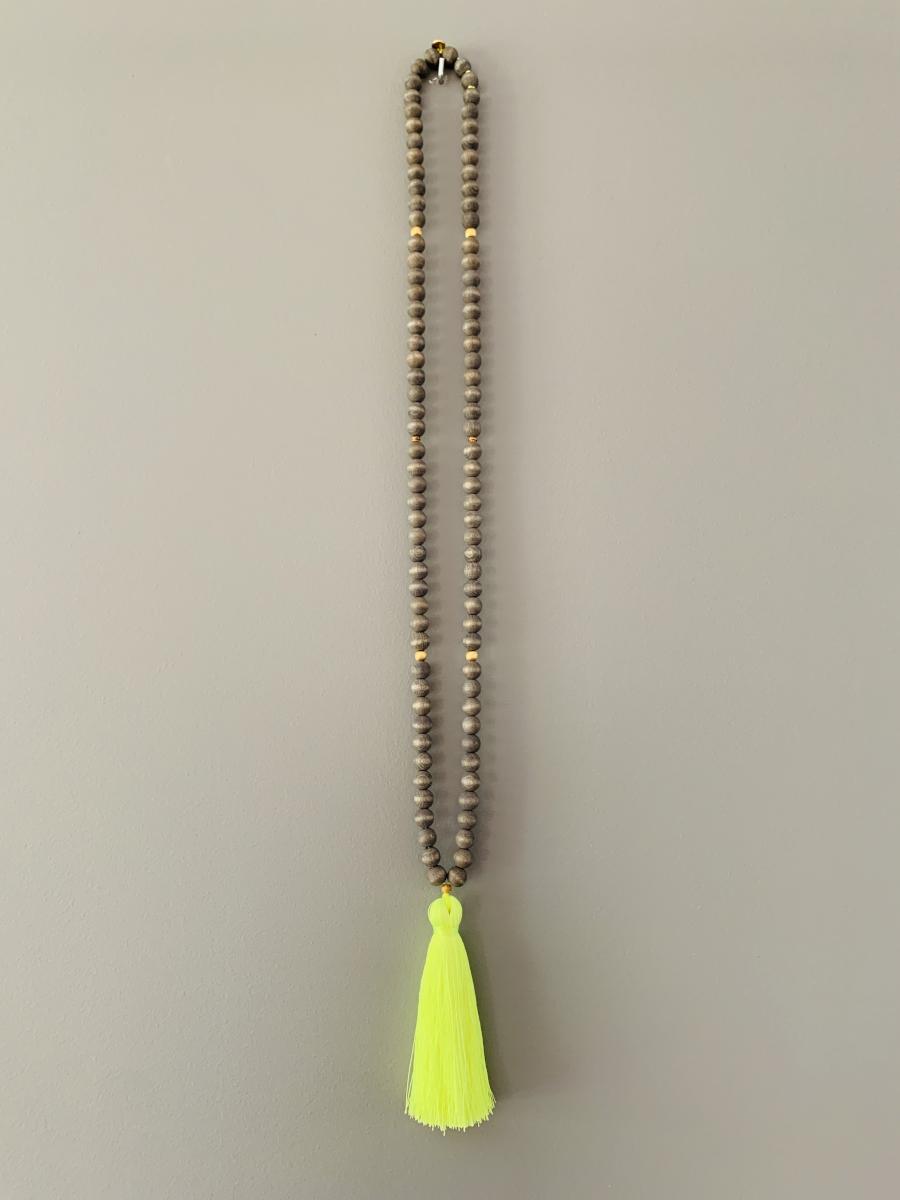 "Halskette ""Mala Ibiza Vintage Wood"" - Grau/neon gelb"