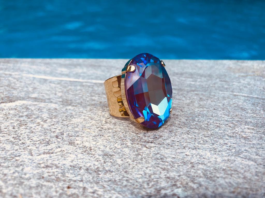 """Ring """"Cosmo"""" - gold/blau-lila"""