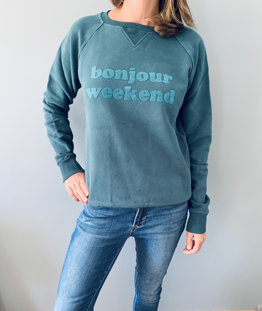 """Another Brand Sweatshirt """"bonjour weekend"""" - Größe S"""