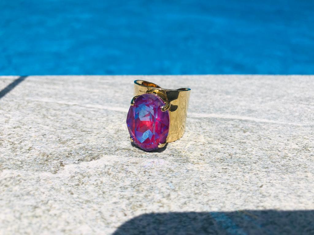 """Ring """"Mata"""" - gold/pink-lila"""