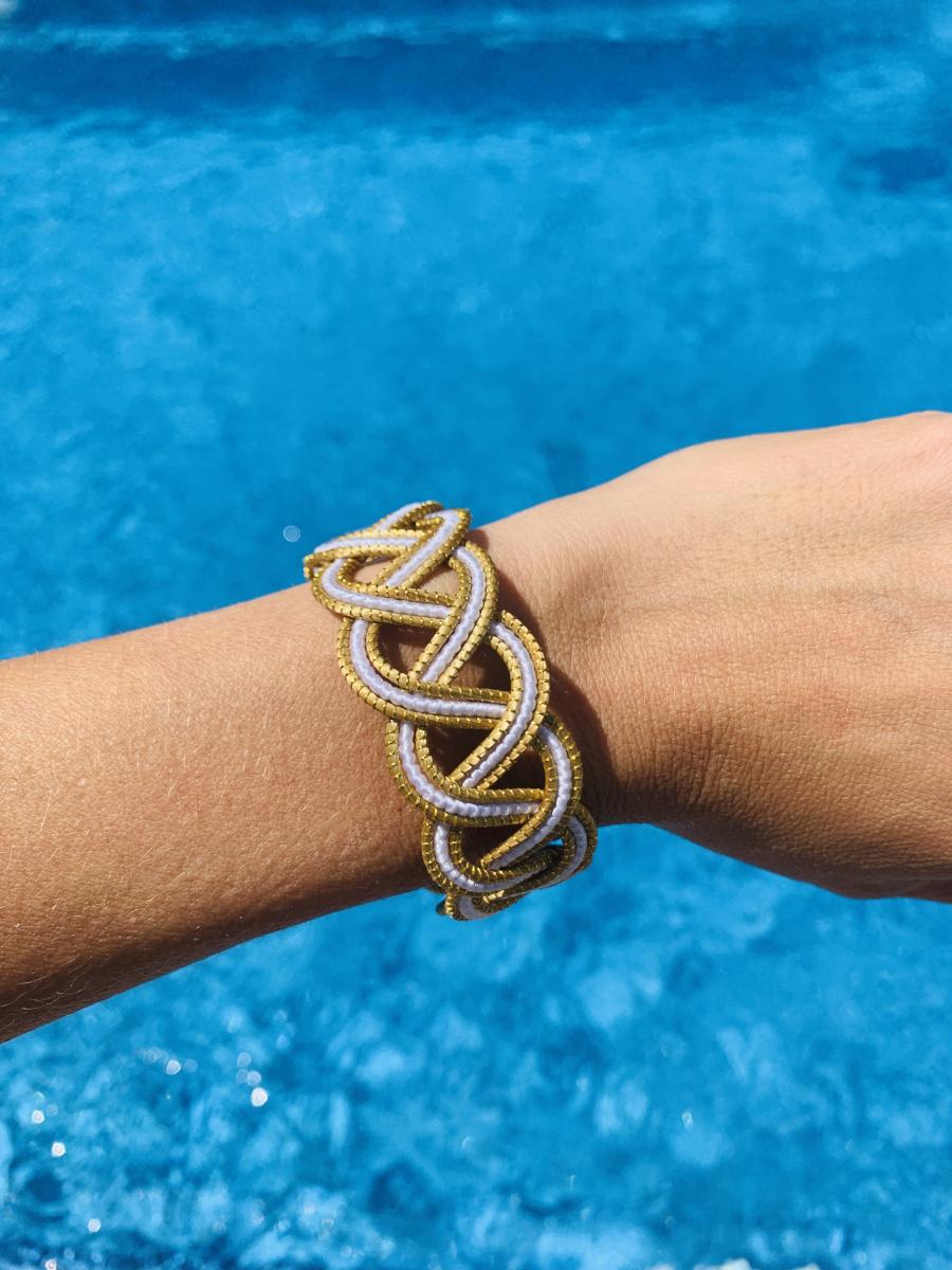 """Armband """"Goldengras"""" - weiß"""