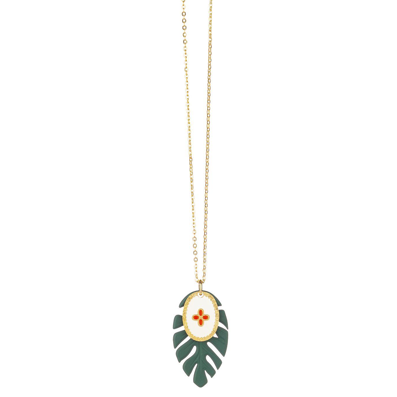"""Halskette """"Collier feuille vert - le coeur"""""""